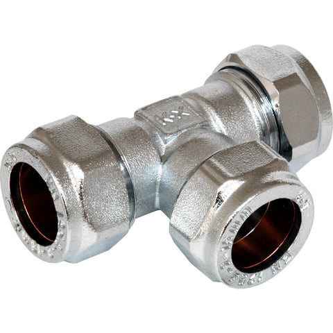 Compression Equal Tee Chrome Plated - Plastic Plumb