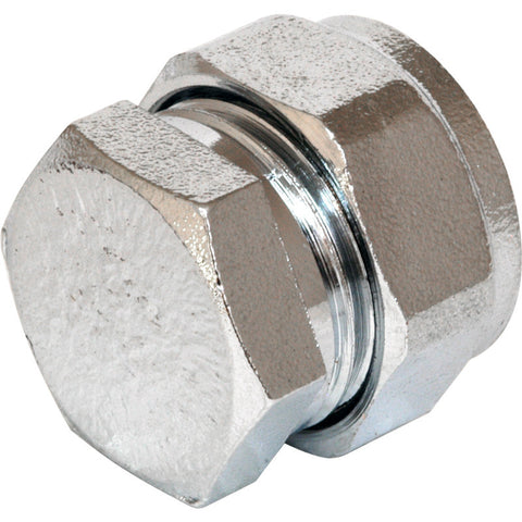 Compression Stop End Chrome Plated - Plastic Plumb