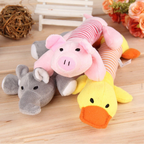 Dog Toys Pet Puppy Chew Squeaker Squeaky Plush Sound Duck Pig & Elephant Toys
