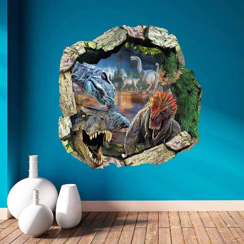 dinosaurs through the wall stickers jurassic park home decoration diy cartoon kids room wall decal movie mural art