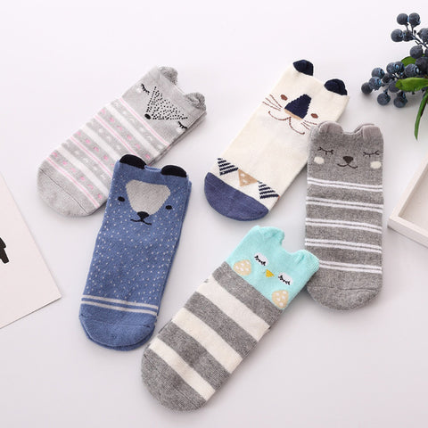 5pairs/lot Cute Animal Socks Boy Girl
