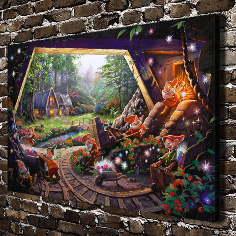 Thomas Kinkade Snow White Seven Dwarfs ,HD Canvas Print Home decoration Living Room Wall pictures Art painting