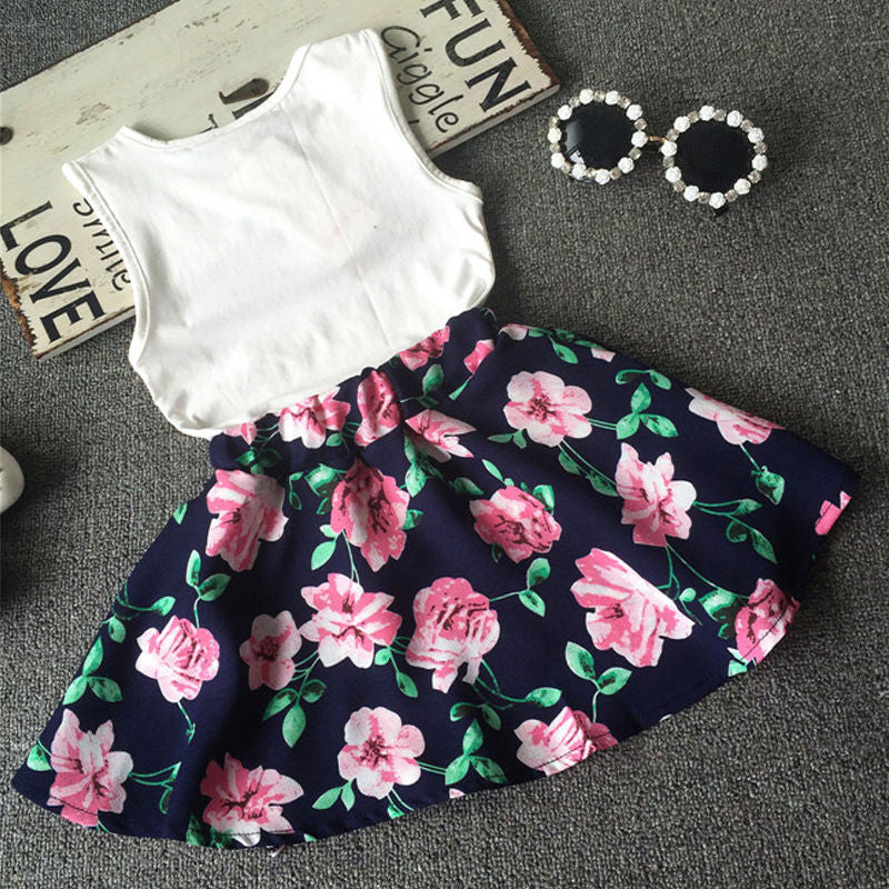 2016 2PCS Kids Baby Girls Toddler T-shirt Tank Tops and Skirt Dress Set Outfits Clothes