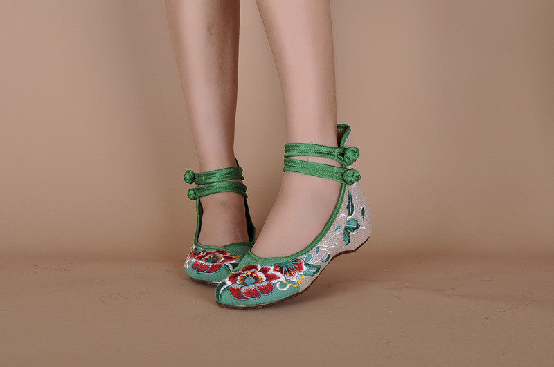 Women Embroidery Hasp Shoes Old Peking Mary Jane High Top Soft Sole Casual Flats  Green+Black+Red Dance Shoes