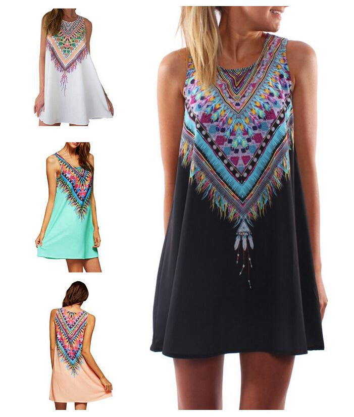 Summer India Ethnic Women Sexy Sun Beach Mini Dress Party Woman Loose Boho Beachwear