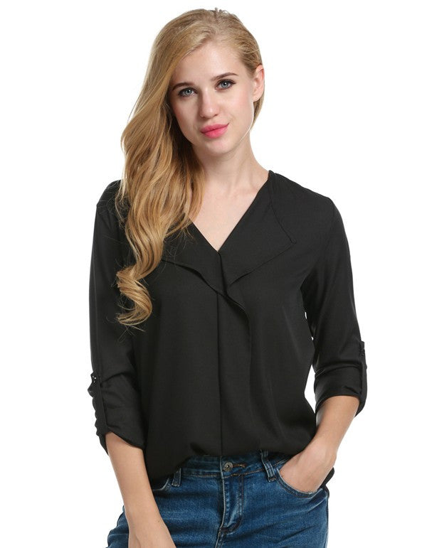 Women Long Sleeve Turn-down V-Neck Blouse Solid Loose Casual OL Office Shirt Leisure Women Blouse Tops