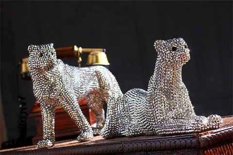 Handmade diamond-encrusted  Leopard