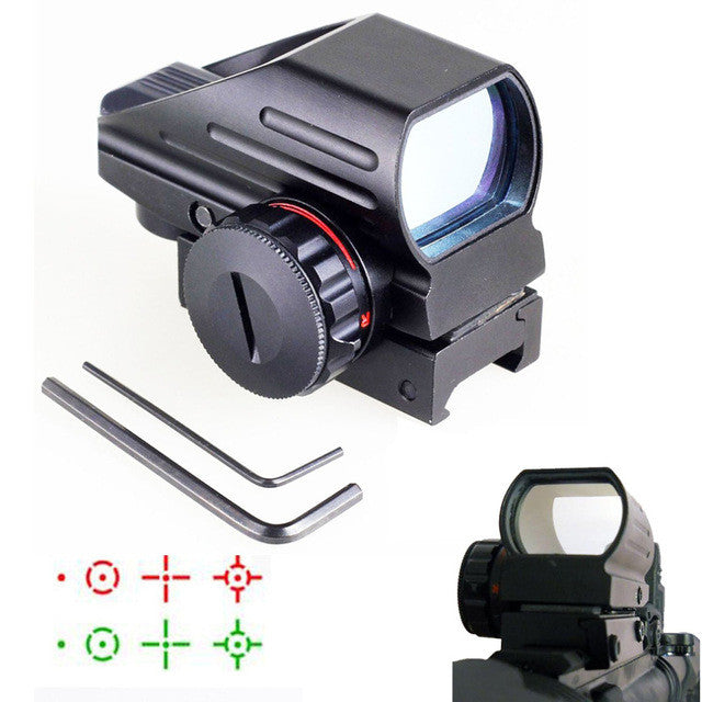 Optics 1x22x33 Compact Reflex Red Green Dot Sight scope 4 Reticle Sight for Airsoft With Weaver 20mm Mount