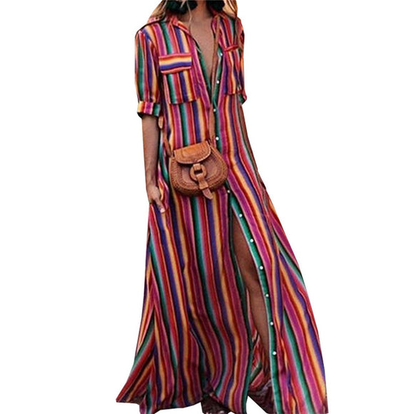 Long Rainbow Striped Boho dress