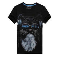 New Mens T Shirts 3d lovely Glasses cat Print Tee Shirts O Neck