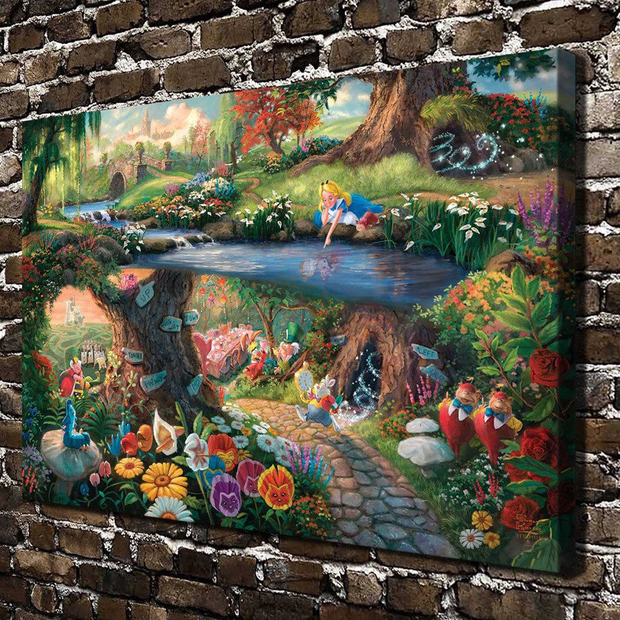 Thomas Kinkade Alice in Wonderland  ,HD Canvas Print Home decoration Living Room bedroom Wall pictures Art painting