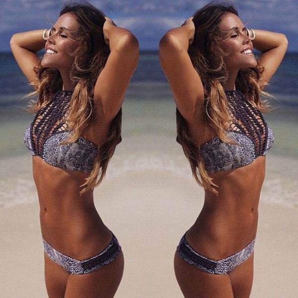 2016 Hot Design Elegant Gray Leopard Sexy Women Bandage Push-up Padded Bra Bikini Set Bathing Swimsuit Swimwear