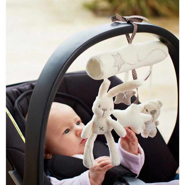 Rabbit toy baby music hanging bed safety seat plush toy GiftsHand Bell Multifunctional Plush Toy Stroller Mobile