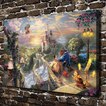 Thomas Kinkade Beauty and the Beast, HD Canvas Print