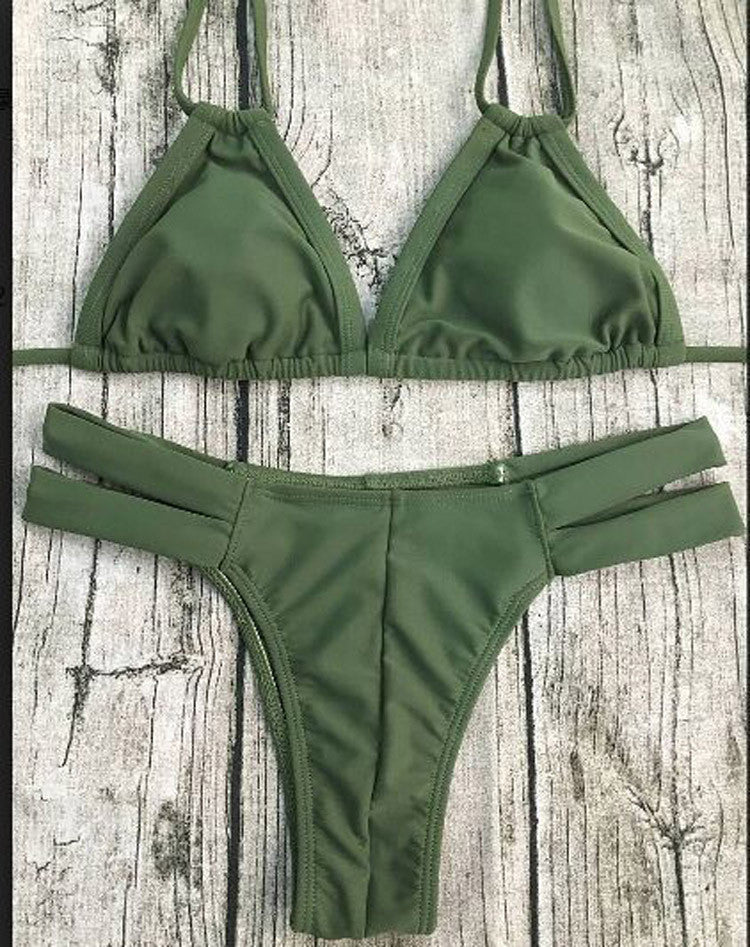 Fashion Summer Style Bikinis Set Two-Pieces Swimsuits Army Green Bikini Top Push Up Swimwear Split Bathing Suit