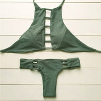 2016 New Sexy Army Green High Neck Halter Brazilian Bikini Set Swimwear Cut Out Swimsuit Summer Beach Bathing Suit Two pieces