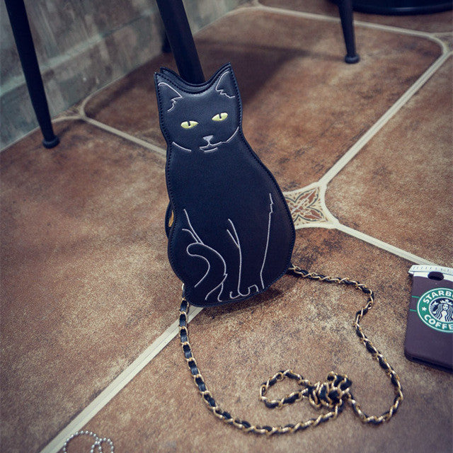 BLACK CAT NOVELTY CROSSBODY CHAIN BAG - Women's Girl 2016 Street Fashion Animal Kitten Cute Cool Unique Fun Cross Body Purse Bag