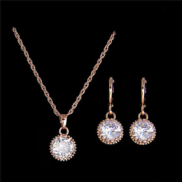 18K Gold Plated Round Cubic Zirconia Stylish Necklace Earrings Fashion Wedding Jewelry