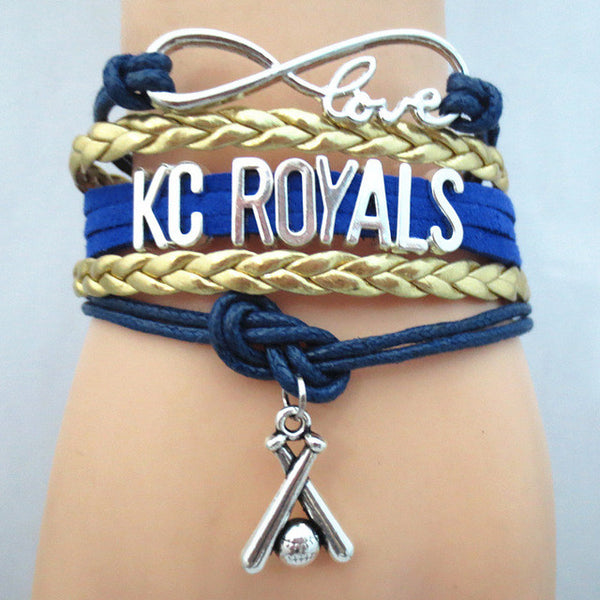 Infinity Love KC ROYALS baseball Sports Team Bracelet Customize Sports friendship Bracelets