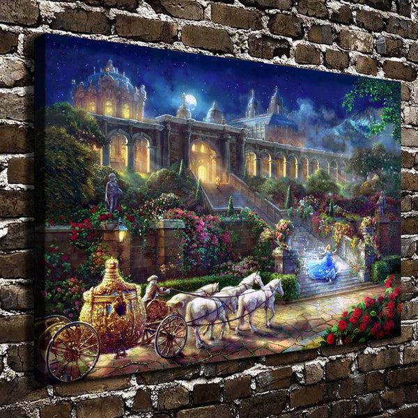 Thomas Kinkade Cinderella Romance Awakens full, HD Canvas Print Home decoration Living Room Wall pictures Art painting
