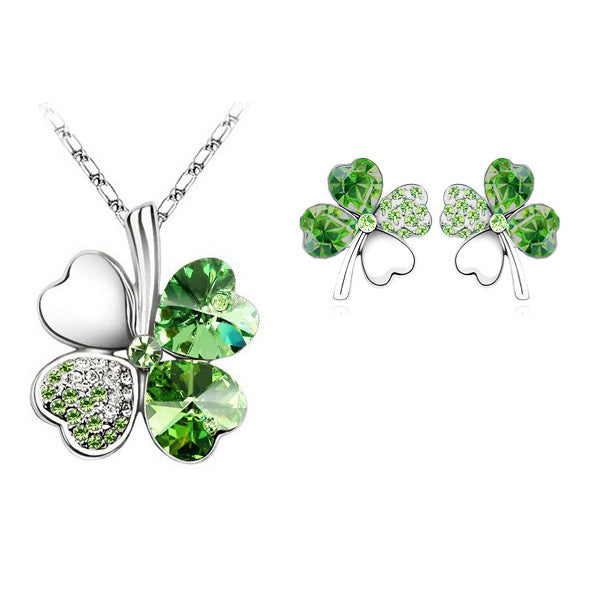 gifts Austrian Crystal Clover 4 four Leaf 18K White Gold Plate green crystsal Necklace Earrings Jewelry Sets