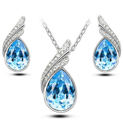 Crystal Jewelry Sets For Women Fashion Jewellery & Jewerly Silver And 18K Gold Plated Bridal Wedding Jewelry Sets
