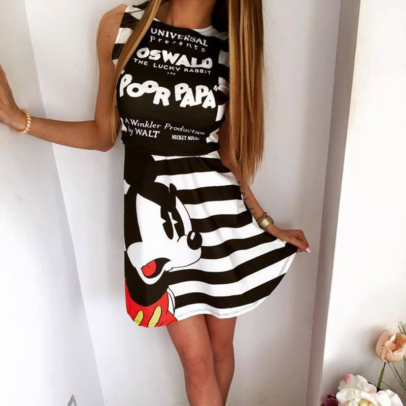 2016 summer new fashion women mouse pattern print dress casual o-neck sleeveless striped letters printed dresses Vestidos