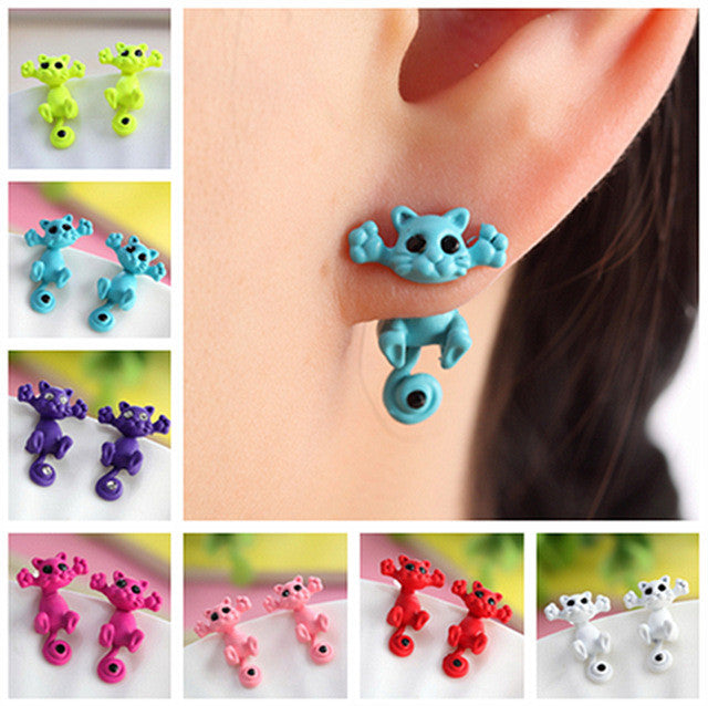 Hot Cute Kitten Ear Jewelry Fine Cat Stud Earrings For Women