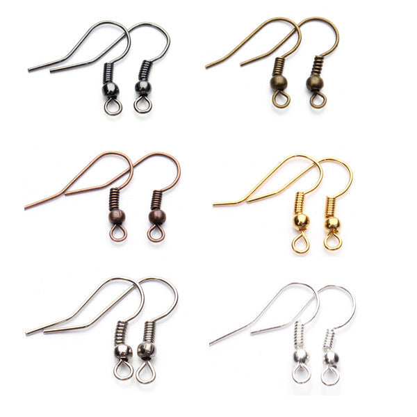 200pcs/lot Gold/Silver/ Black/Antique Bronze/Antique Gold/Red Copper Ear Wire Hook for DIY Earrings Findings