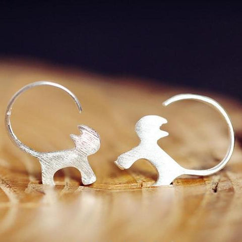 Sterling Silver Cute Cat Earrings