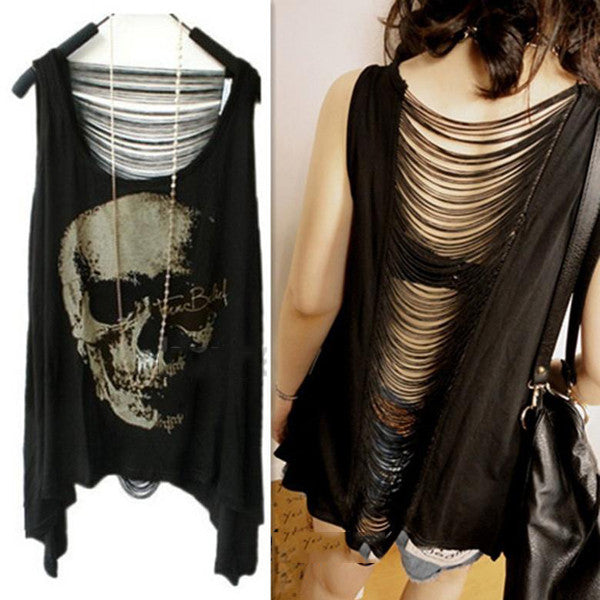 New Women's T Shirt Vintage Tassel Open Tank Pop Back Skull Punk Singlet Long Tee T-Shirts/Sexy Lady Top