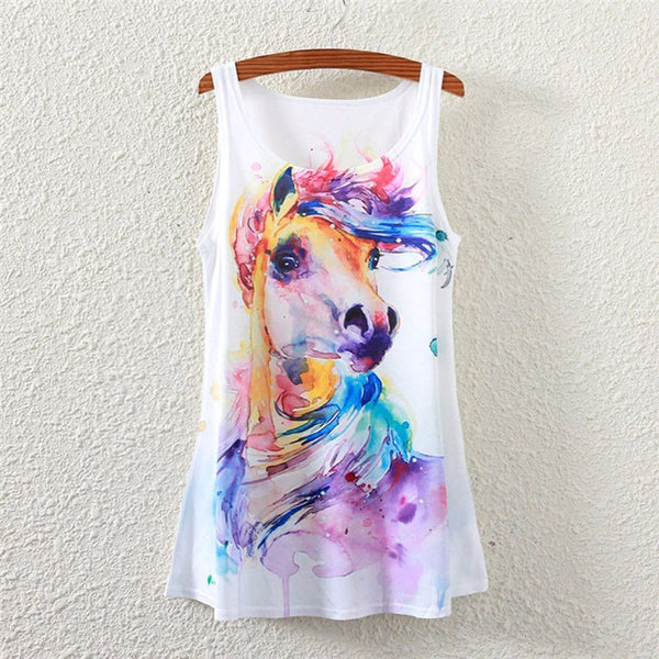 2016 Brand New Polyester sleeveless Shirt Women o-neck Causal loose Watercolor horse T shirt Summer top for women