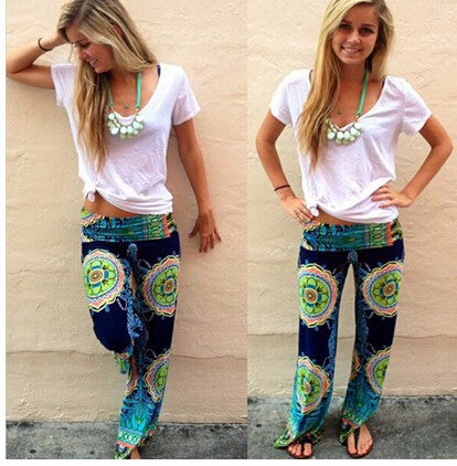 2015 Spring and autumn Fashion women's causal sporty wide leg pants Floral SWEATPANTS females fashion Loose Trousers