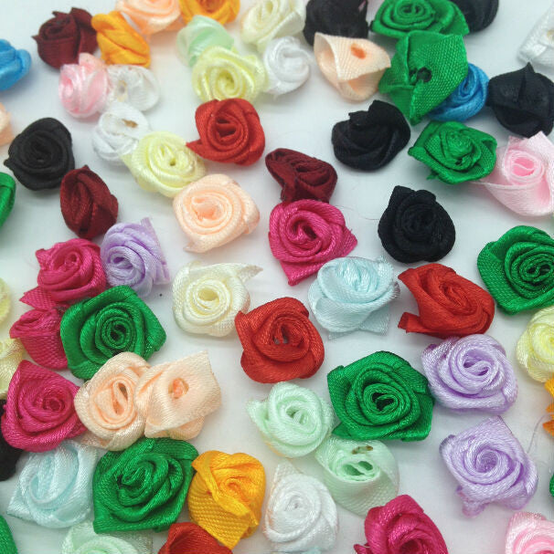 100pcs 15mm Ribbon Rose Flowers DIY Sewing Wedding Crafts Supplies Lots Colors