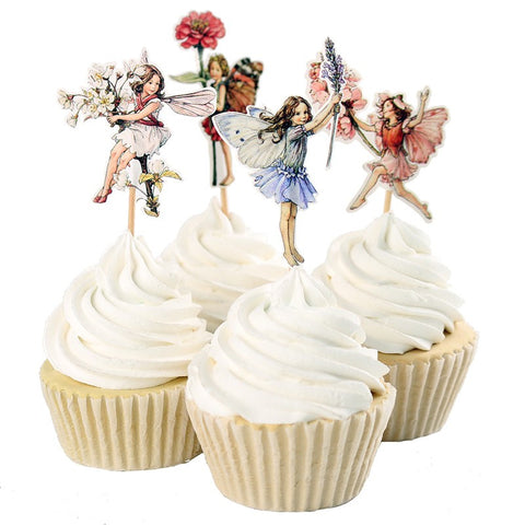 48pcs Flower Fairy Cupcake Toppers Picks for Birthday Decorations New Year Easter Halloween Party Cake Decoration Favor