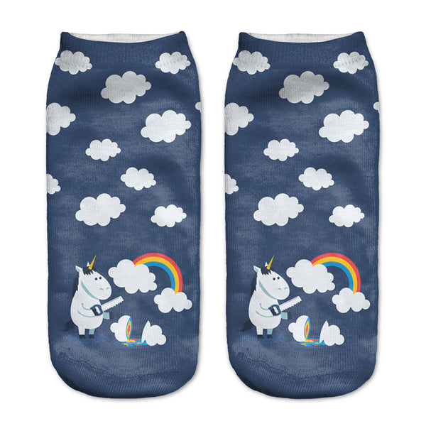 2016 New Women Harajuku 3D Cute Unicorn Print Socks Summer Autumn Comfortable