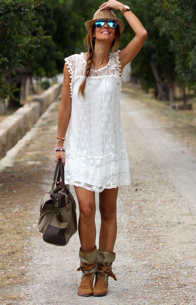 White lace crochet sundress summer style sleeveless women dresses patchwork pompon beach dress