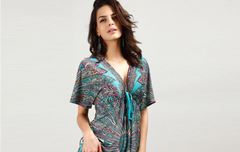 2015 New Bohemian Summer Style Women Short Sleeve Deep V Neck Casual Fashion Print Mini Sexy Beach Dresses Plus Size