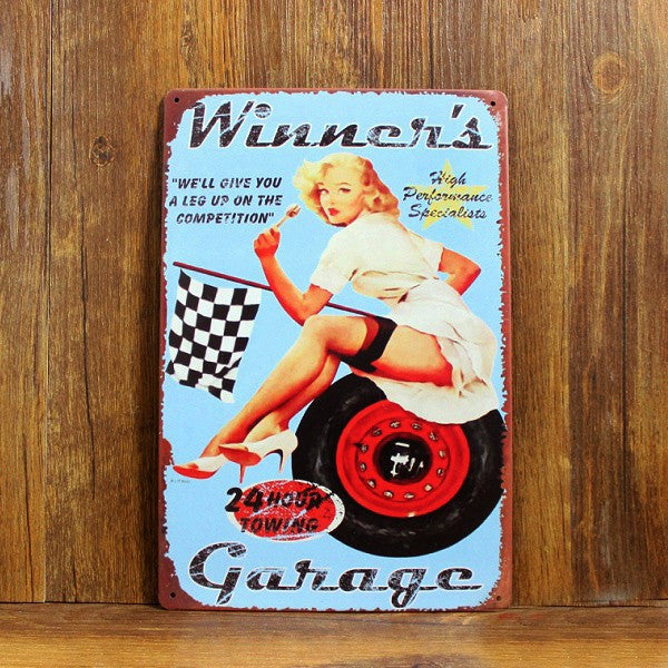 F1 Racing CAR SEXY LADY Poster Metal painting Tin signs Vintage Plaque Home decor Bar Pub Retro Iron wall Decor