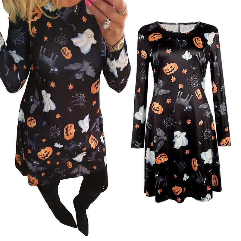 Halloween Pumpkin Print Dress Autumn Women Casual Long Sleeve Christmas Festival Dress Ladies A-Line Hippie Party Dresses