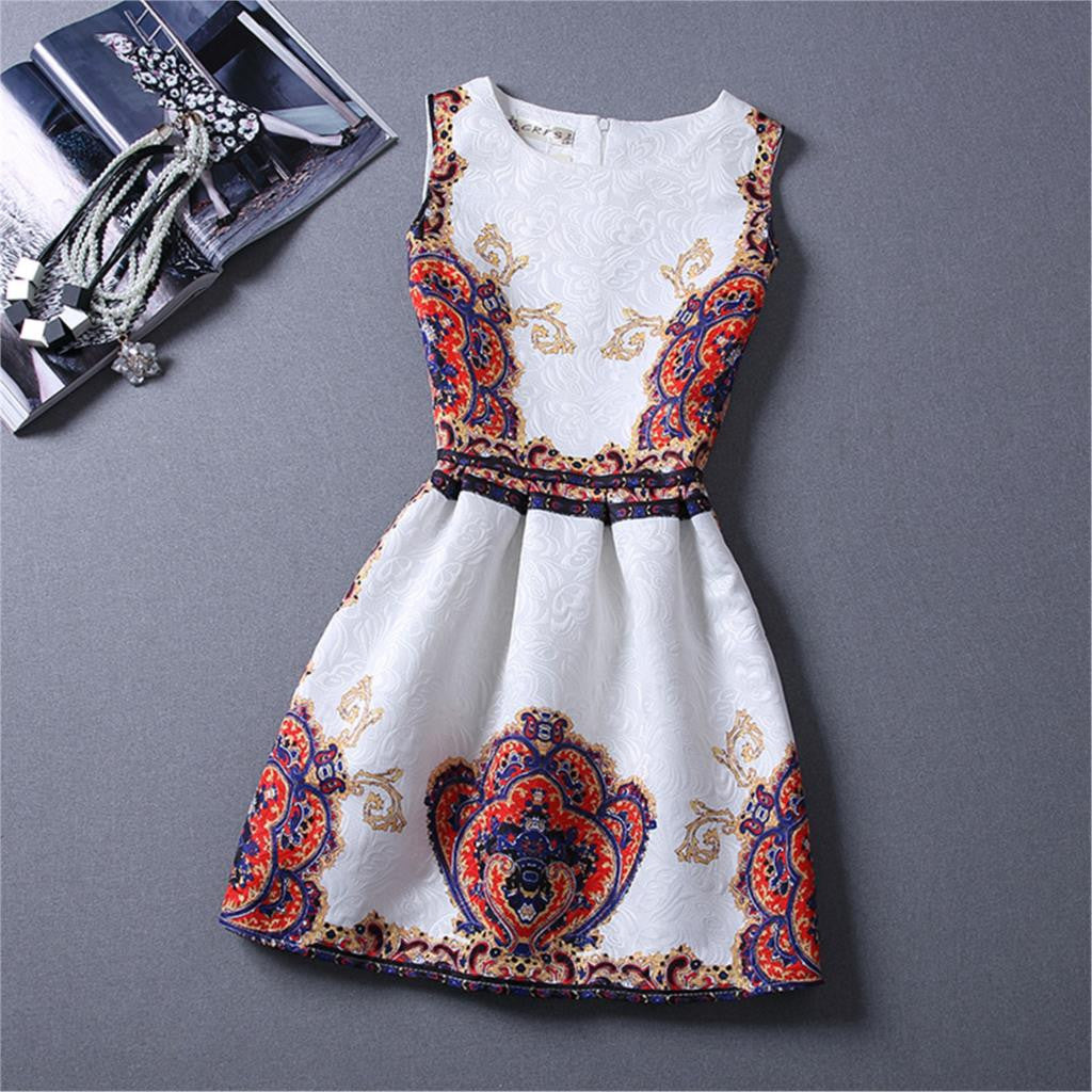 2016 Women Clothing Spring Women Bohemian Dress Girls Floral Printed White Dresses Sleeveless High Quality Dresses