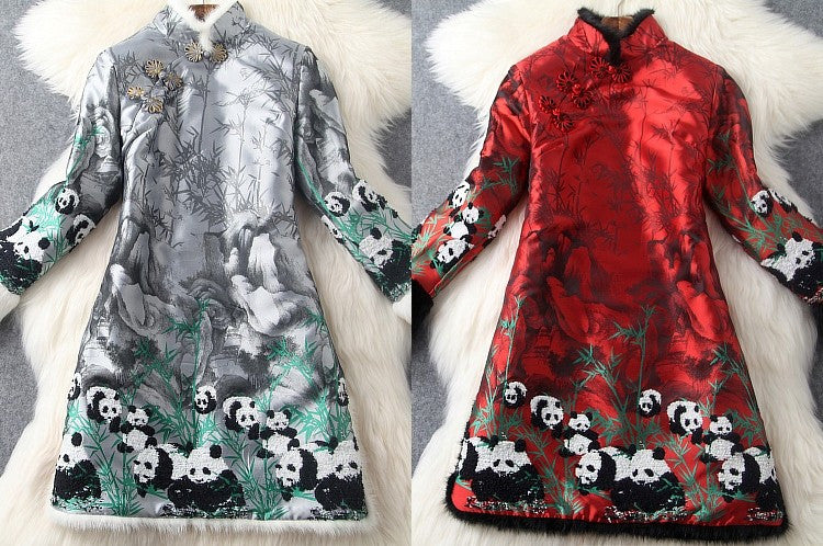2016 High quality luxury warm winter dress Spring Vintage Women Clothing fashion Casual long sleeve Dress Chinese Style dresses