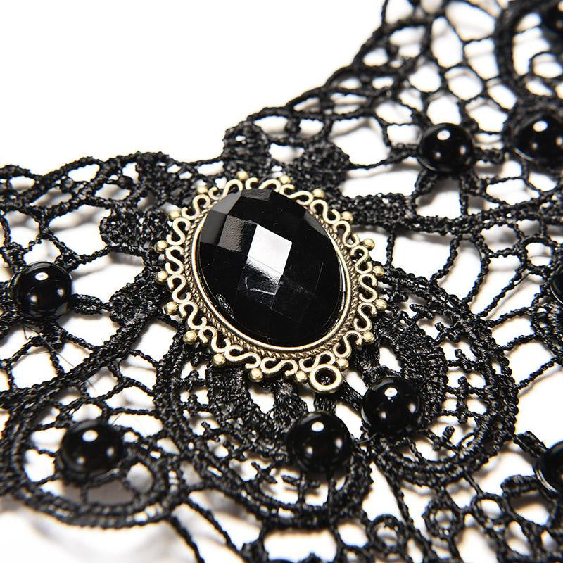 Handmade Short Choker Victorian Steampunk Style Gothic Collar Lace Necklace Black Lace& Beads For Wedding Party