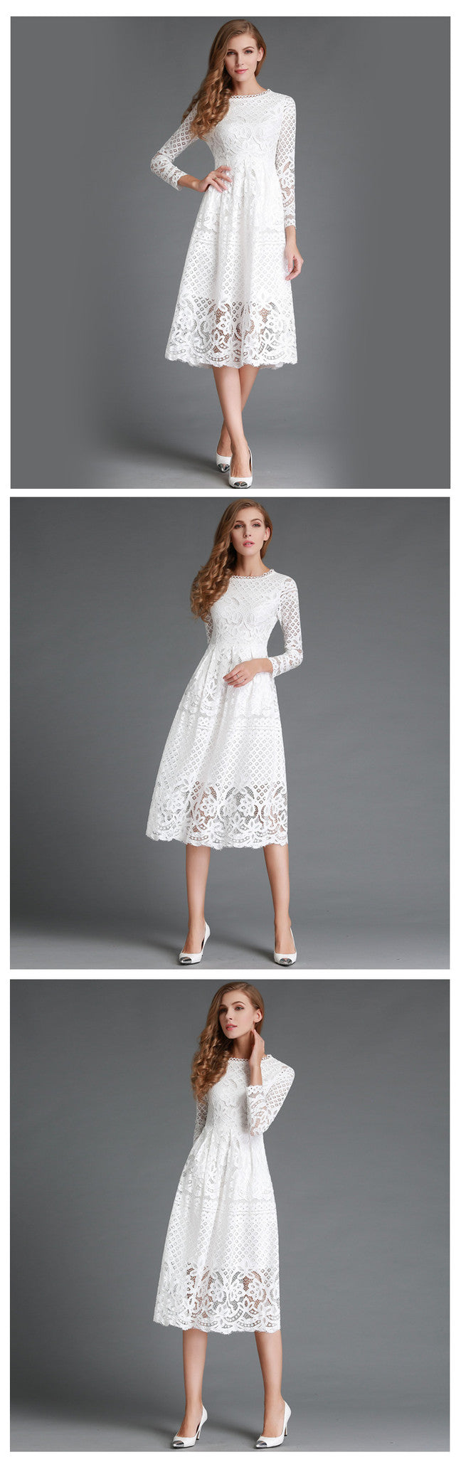 New European 2016 Spring Women's Lace Hollow Out Long Dresses Bohemian Femme Casual Clothing Women Sexy Slim Party Dress