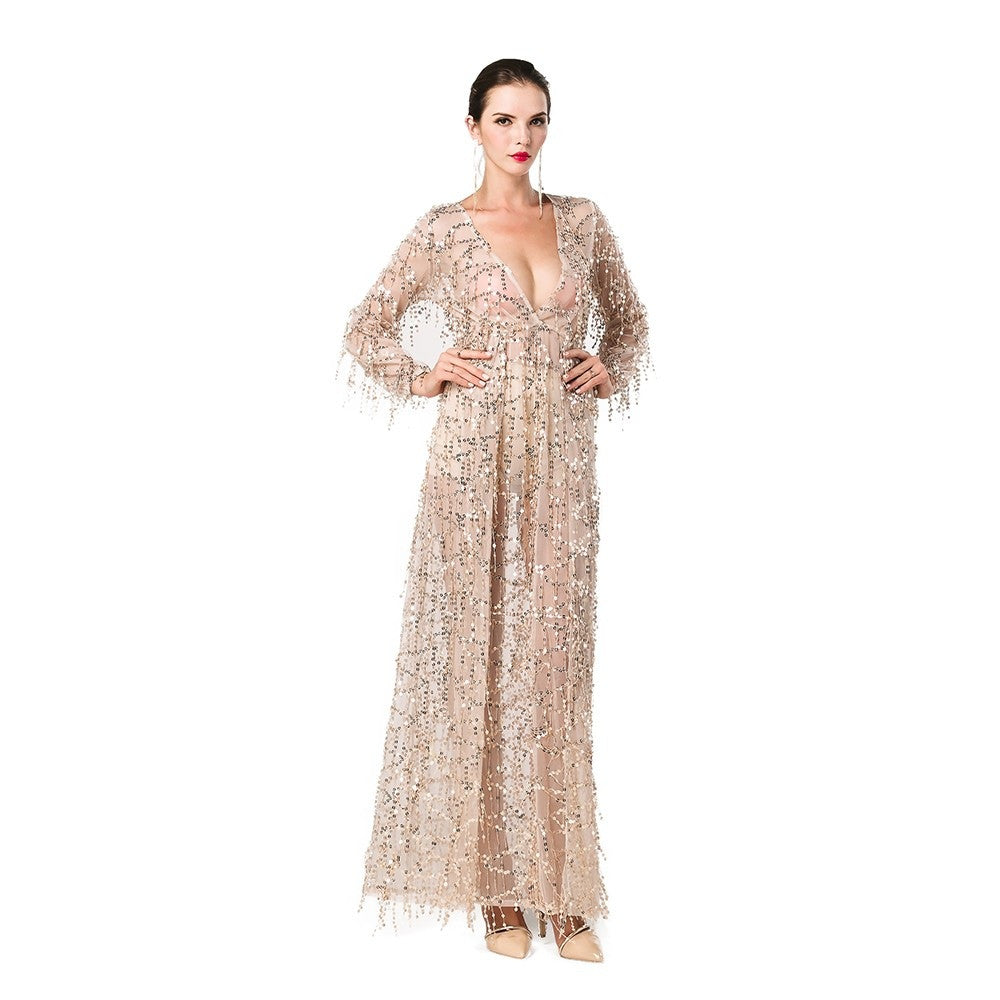 2016 Sexy long sleeve deep V two split sequin maxi no lining dress