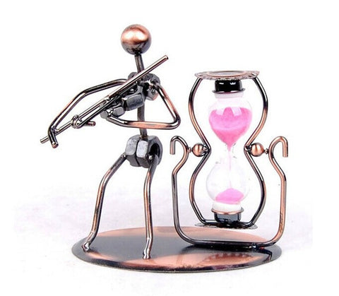 Violin Metal jewelry crafts creative home decorations ornaments Iron Music Man Sandglass timer