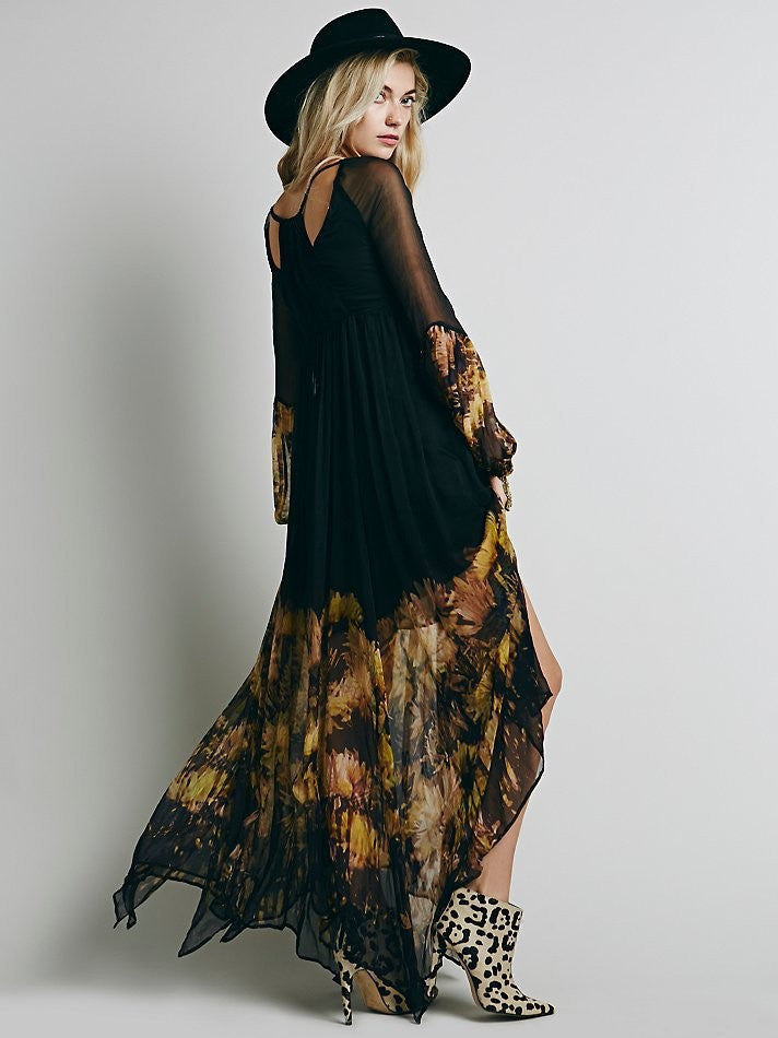 Women Elegant Vintage Bohemian Dress Ladies Summer Chiffon
