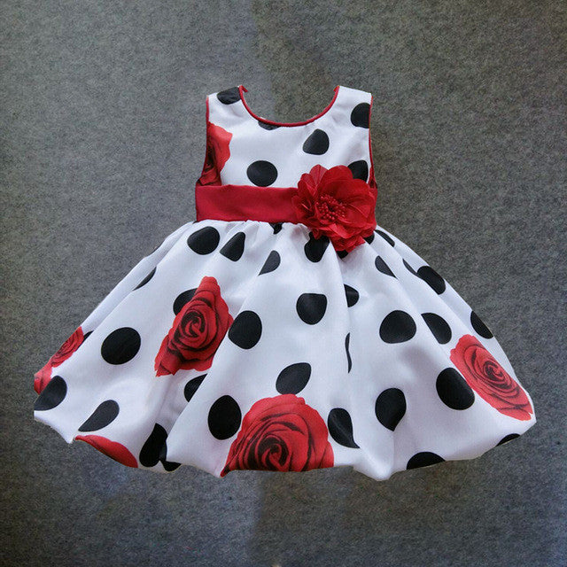 baby girls dress Black Dot Red Bow infant summer dress for birthday party sleeveless princess floral vestido infantil