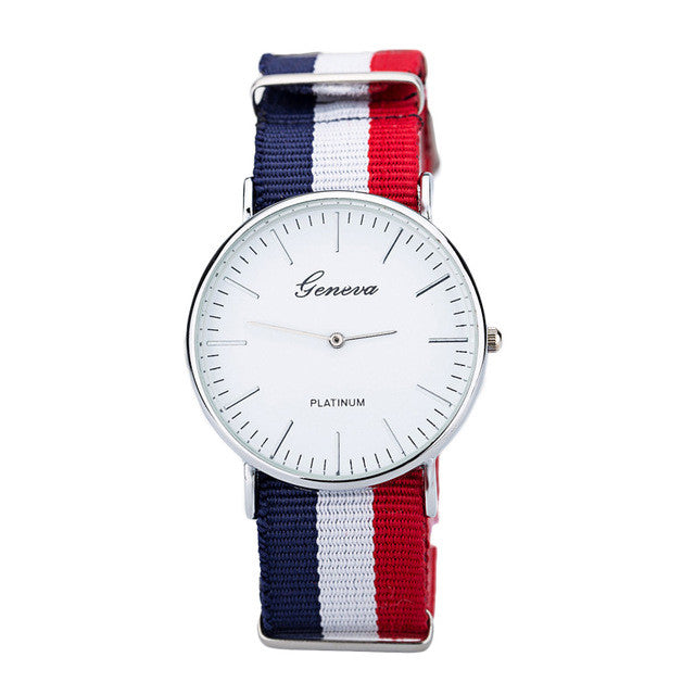 Geneva Sport Woven Fabric Quartz Men Watch High Quality Fashion Casual Male Wristwatch Striped Blet Dress Watch Gift Clock Hour