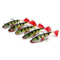 5pcs Long Tail Soft Lead Fish Fishing Lures 0.011KGS 85mm Luminous Sea Fishing Tackle Soft Bait Bass Hook